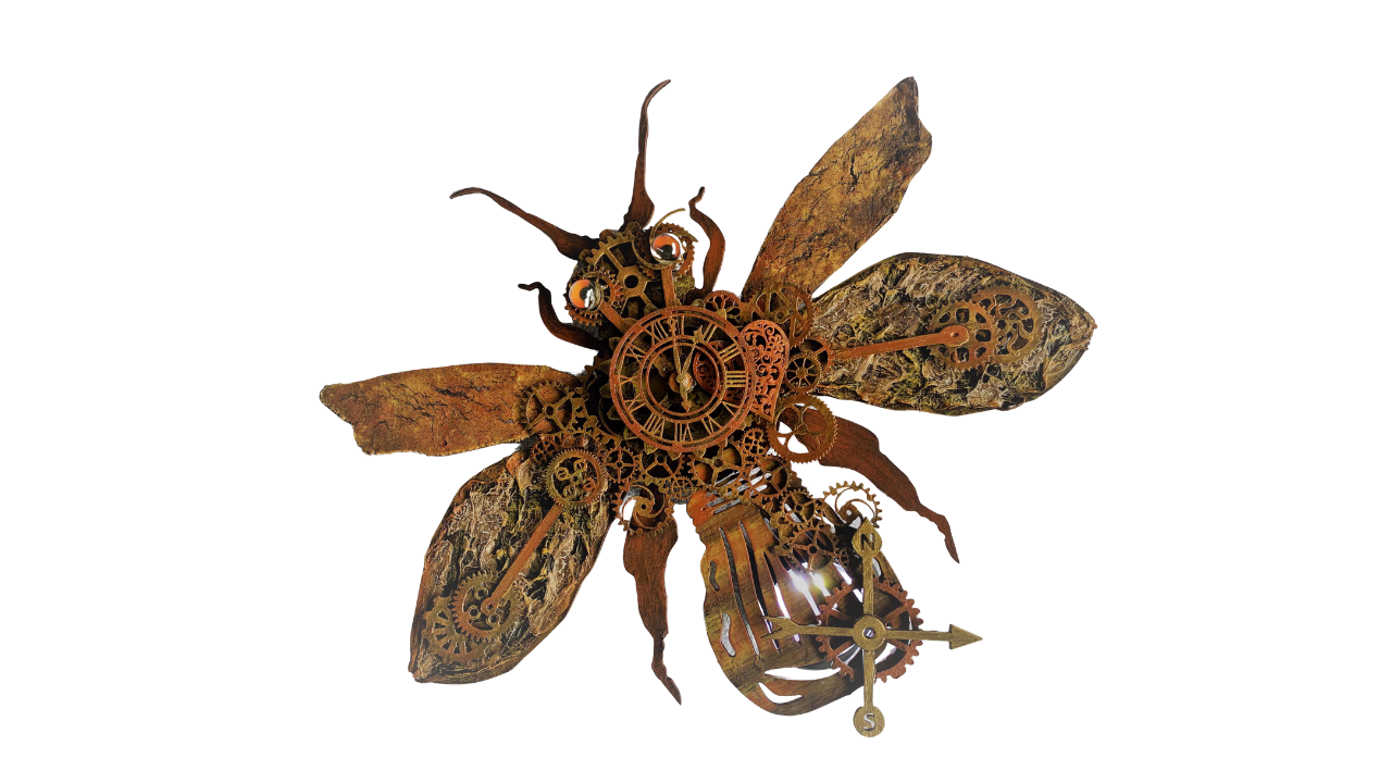 A completed steampunk firefly in rusty bronze color.