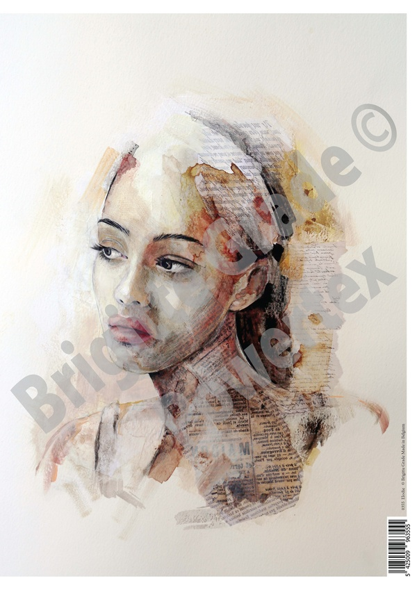 """A3 Art Print of """"Elodie"""" to use for photo transfers or collage, Powertex Australia"""