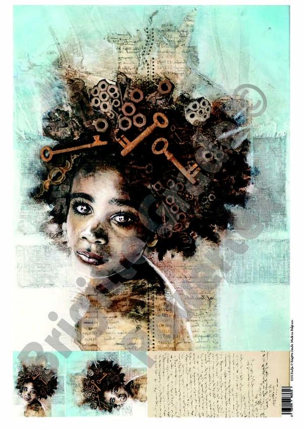 "A3 Art Print of ""Kadja"" to use for photo transfers or collage, Powertex Australia"
