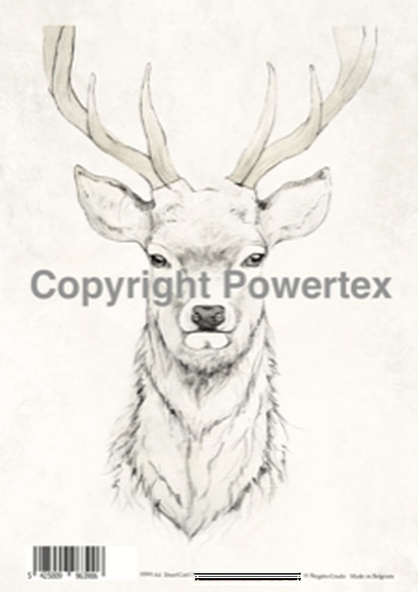 "A4 Art Animal Print ""Deer"" to use for photo transfers or collage, Black and White, Powertex Australia"