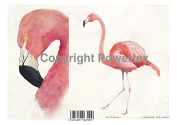 "A4 Art Bird Print ""Flamingo"" to use for photo transfers or collage, Powertex Australia"