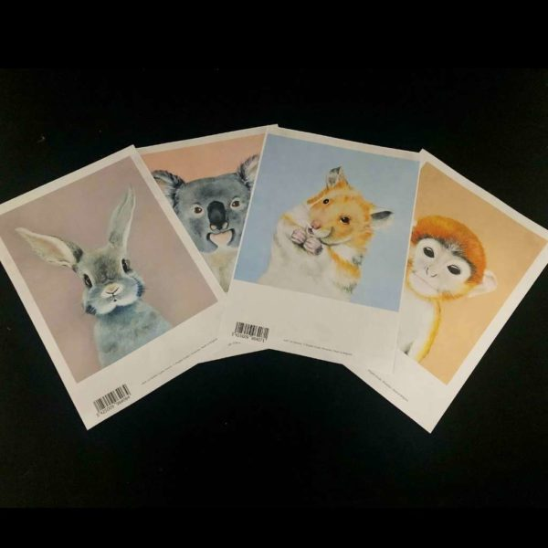 A4 Laser prints of baby animals - 4 pack- for photo transfers or collage onto canvas
