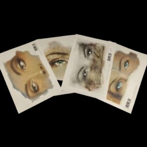 Beautiful pack of 4 A4 art prints of eyes designed and painted by Brigitte Grade for Powertex