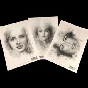 Beautiful A4 laser prints - faces- hand-drawn by Brigitte Grade for Powertex