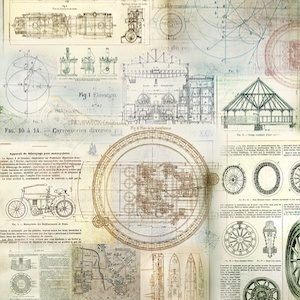 Silk Paper with Mechanical Design perfect for any Steampunk project